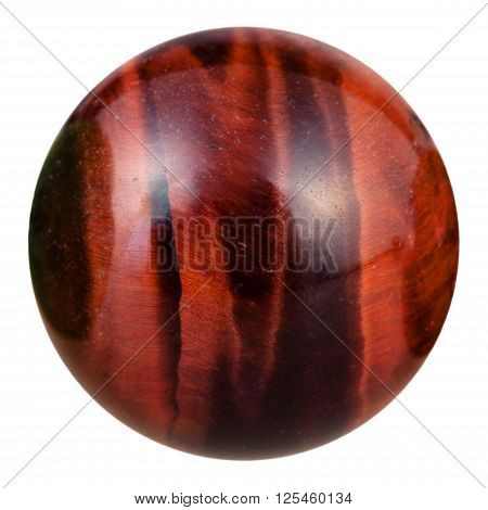 macro shooting of ball from bull's eye (red tigers eye dragon's eye ox's eye) natural mineral gemstone isolated on white background