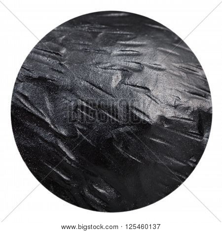 macro shooting of ball from black coat Anthracite natural mineral stone isolated on white background