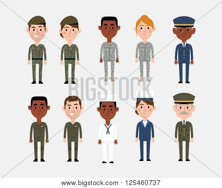 Character Illustrations Depicting Military Occupations