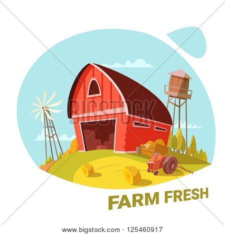 Farm and fresh organic products concept with haystack and tractor cartoon vector illustration