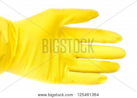 yellow rubber gloves isolated on white background