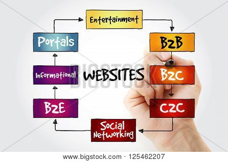 Hand writing Types of websites with marker business concept strategy mind map poster