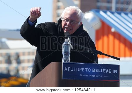 NEW YORK - APRIL 10, 2016:Presidential candidate Bernie Sanders speaks during rally at iconic Coney Island boardwalk in Brooklyn, New York