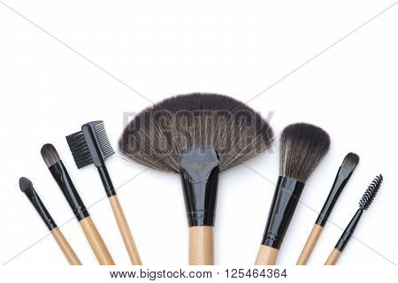 Top View Isolated Beautiful Professional Makeup Brushes Set
