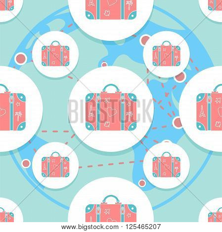 seamless vector pattern background illustration with patterned travel suitcase in a flat style poster