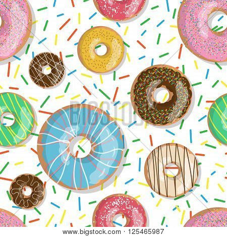 Seamless pattern bright tasty vector donuts illustration isolated on the sprinkles background. Doughnut background in cartoon style for donuts menu in cafe and shop.