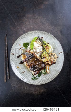 Japanese Coalfish with Vegetable and Rice on Plate