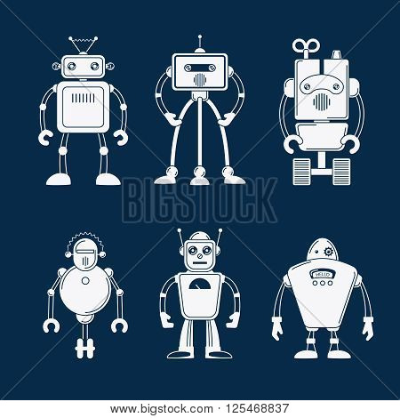 Robot vector icons. White robots pictograms, robot flat images on dark blue background