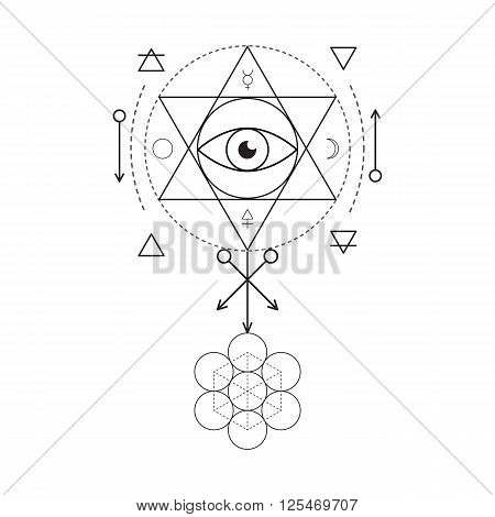 Symbol of alchemy and sacred geometry. Linear character illustration for lines tattoo on the white isolated background. Three primes: spirit soul body and 4 basic elements: Earth Water Air Fire
