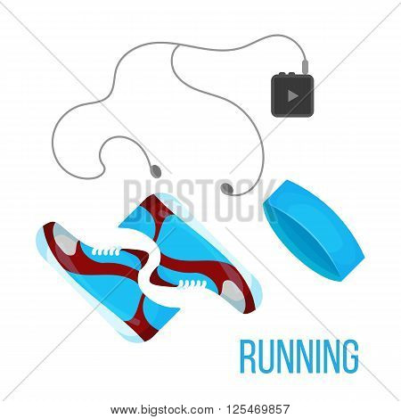 Running shoes music player and head band icon isolated on the white background. Sports equipment illustration set for gym or fitness club flayers.