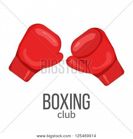 Boxing gloves red icon isolated on the white background. Sports equipment illustration set for gym or fitness club flayers. Boxing gloves illustration in flat design.