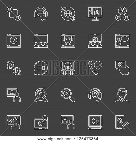 Online video conference icons - vector set of linear business communication signs. Thin line online conference and webinar symbols