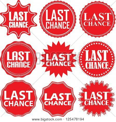 Last Chance Red Label. Last Chance Red Sign. Last Chance Red Banner. Vector Illustration