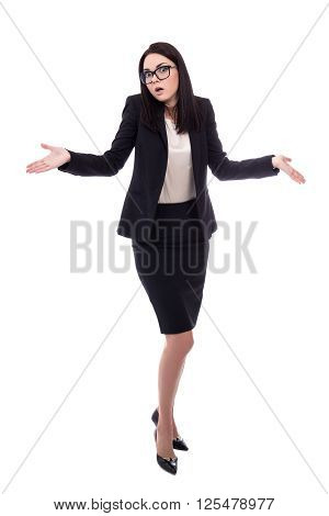 Full Length Portrait Of Pretty Business Woman Shrugs Shoulders With Open Palms Isolated On White