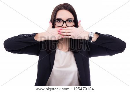 Censor - Stressed Young Business Woman Covering Her Mouth Isolated On White