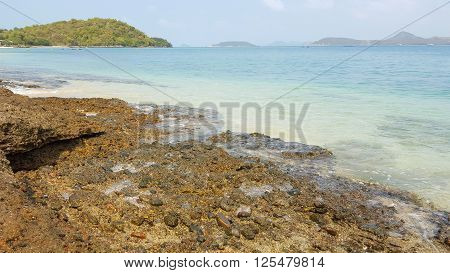 Rock beach and clear seawater in the tropical island