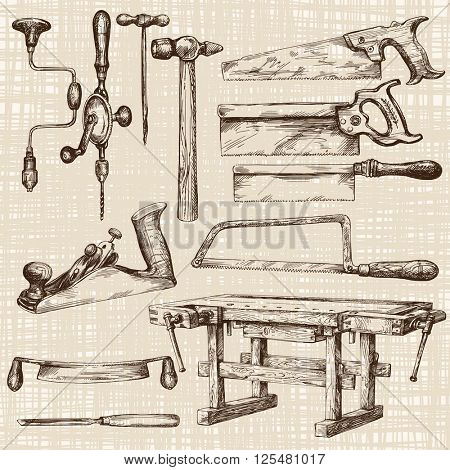 Carpentry workshop, set of tools.
