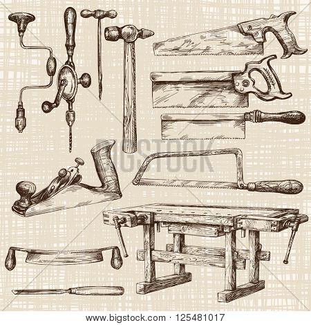 Carpentry workshop, set of tools.