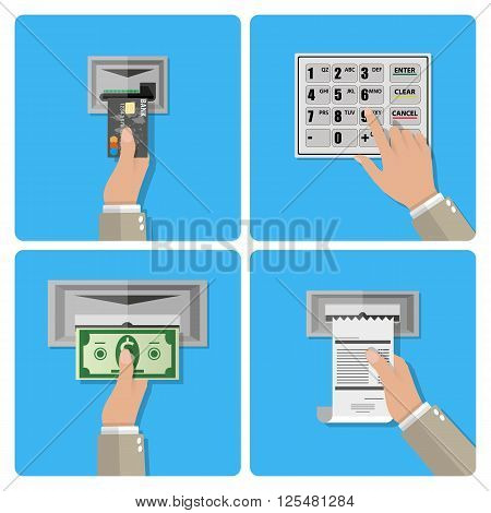 ATM terminal usage concept in four steps. hand inserts a credit card into ATM, hand dials pin code, hand takes the money from the ATM, hand takes receipt.  vector illustration in flat design