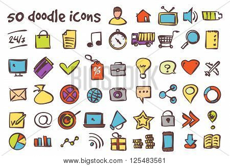Vector colored doodle icons set. Stock illustration for design