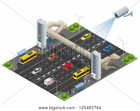Isometric pedestrian bridge with a lift over the highway. Set of the isometric pedestrian bridge with a lift, bus, sedan, taxi, cargo, mini, ambulanse and bus stop. Vector illustration