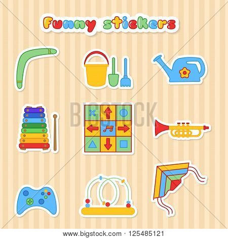 Set of vector stickers of toys. Collection of stikers of toys for children. Vector illustration in a flat style. Vector elements for web design, mobile applications, design flyers, discounts