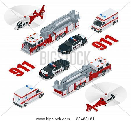 Emergency concept. Ambulance, Police,  Fire truck, cargo truck, helicopter, emergency number 911.  Flat 3d isometric city transport icon set