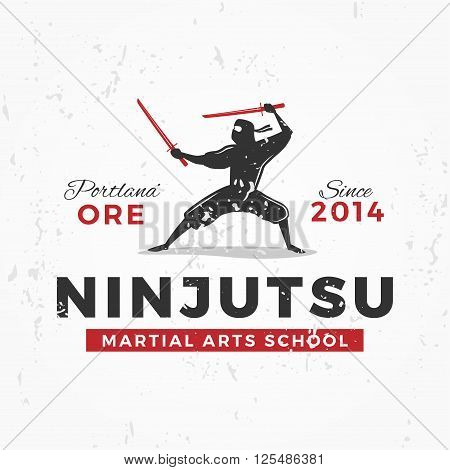 Japanese Ninja Logo. ninjutsu insignia design. Vintage ninja mascot badge. Martial art Team t-shirt illustration concept on grunge background.