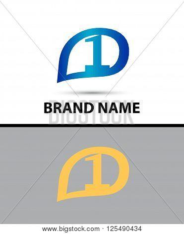 Vector sign number 1 logo. Vector illustration design