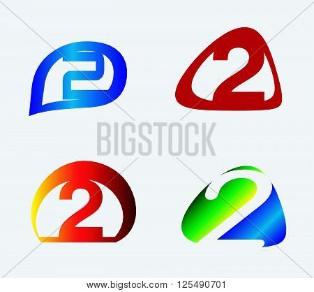 Abstract icons for number 2 logo design