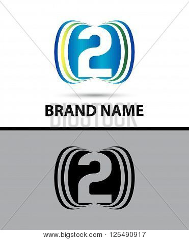 Number two 2 logo design illustration abstract template