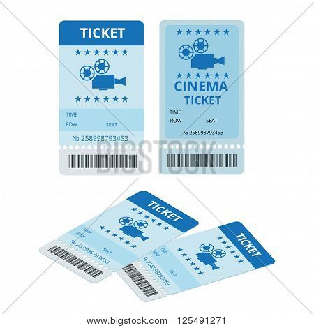 Modern cinema tickets isolated on write background. Entertainment Tickets. Icon for online booking of tickets. Modern element design cinema ticket