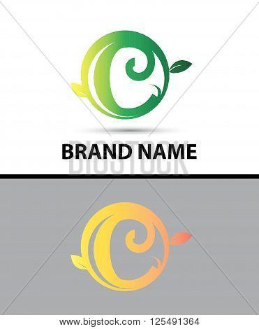 Leaf icon Logo Letter C design template abstract
