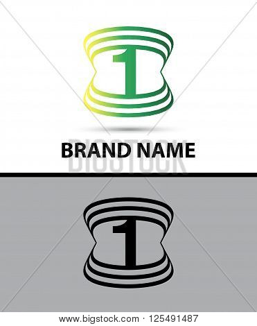 Number logo design. Number one logo abstract