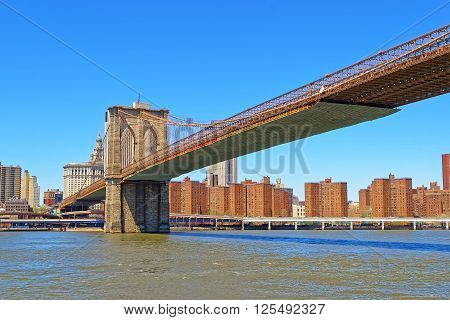 View from Ferry on Brooklyn bridge over East River. Lower East Side on Manhattan of New York USA is on the background.