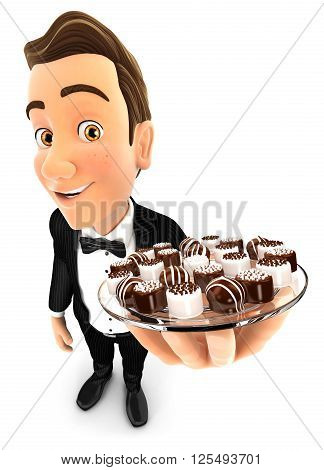 3d waiter holding plate with various chocolates isolated white background