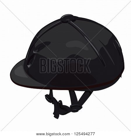 Black riding helmet. Isolated jockey protection on white background. Dirty, realistic object from equestrian enviroment with horses. Horse racing equipment. Flatten isolated master vector illustration