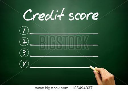Hand drawn Credit score blank list concept on blackboard