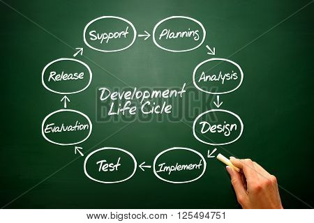 Circular Vector Flow Chart Of Life Cycle Development Process On Blackboard..