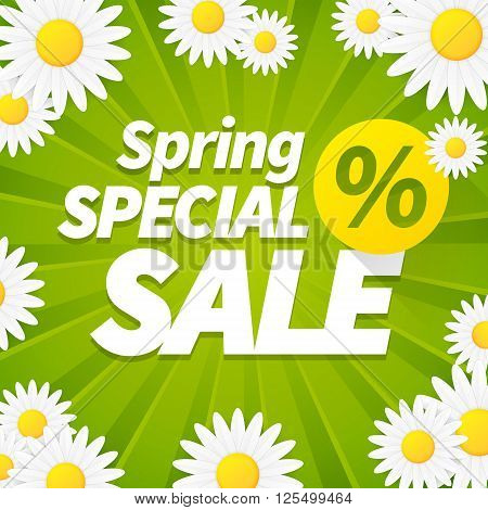 Seasonal special spring sale business background with daisy flower. editable. vector.