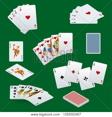 A royal straight flush playing cards poker hand in hearts. Poker cards set. Playing cards set