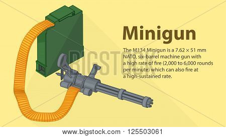 Gatling minigun isometric flat vector 3d illustration.  Isolated 3d illustration of gatling or chain gun. Gatlign gun cannon
