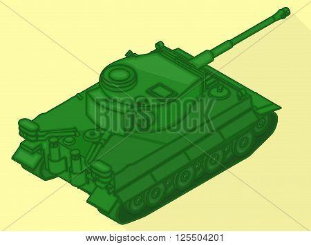 Tank isometric flat vector 3d illustration. War machine flat pictogram. Tank sign.