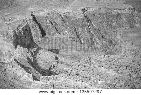 Black And White Picture Of Rock Formations.