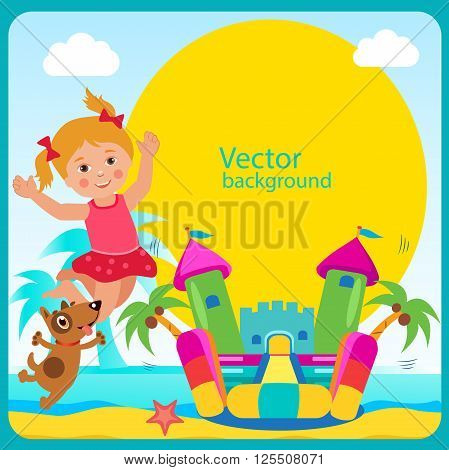 Bouncy Castle. Summer Rest. Cheerful Girl And Her Dog. Bouncy Castle Rental. Bouncy Castle For Sale. Bouncy Castle Commercial. Vector Concept Banner. Bouncy Castle For Kids. Active Holidays.