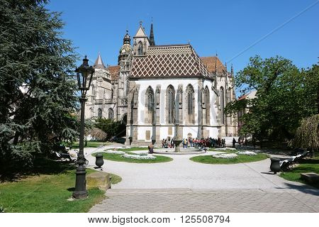 KOSICE SLOVAKIA - MAY 03 2015: Central square with Cathedral St. Elizabeth in Kosice city Slovakia.