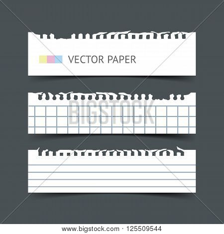 Set of blank white blank notepaper horizontal web banners with shadow isolated on dark background. Paper sheets for design. Realistic vector torn notepaper sheets.