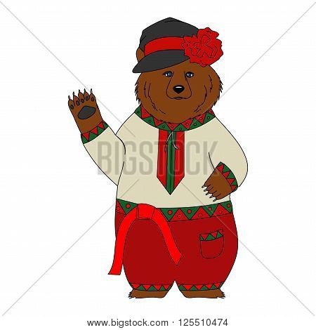 Brown Russian bear in the Russian national costume