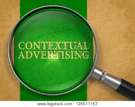 Contextual Advertising through Lens on Old Paper with Green Vertical Line Background. 3D Render.