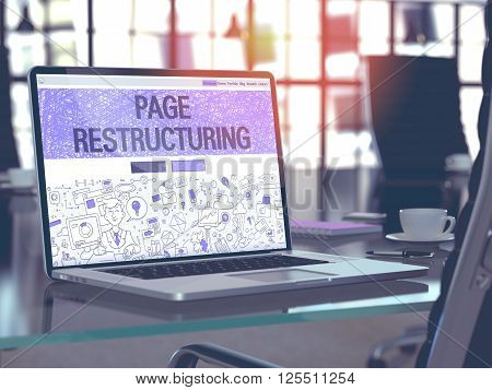 Page Restructuring Concept - Closeup on Landing Page of Laptop Screen in Modern Office Workplace. Toned Image with Selective Focus. 3D Render.